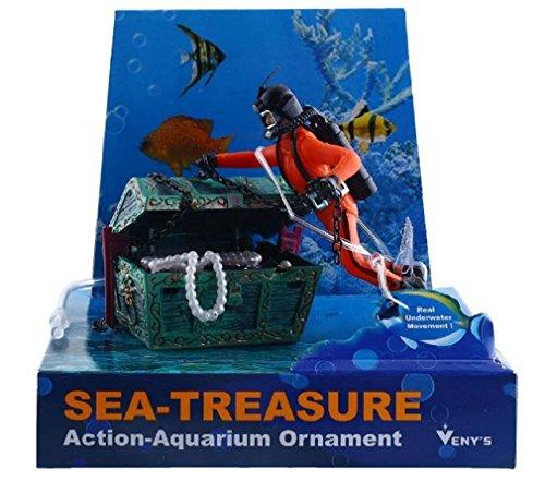 Aquarium Ornament Decor Treasure Hunter Chest Diver Fish Tank Air Action (RANDOM COLOR)