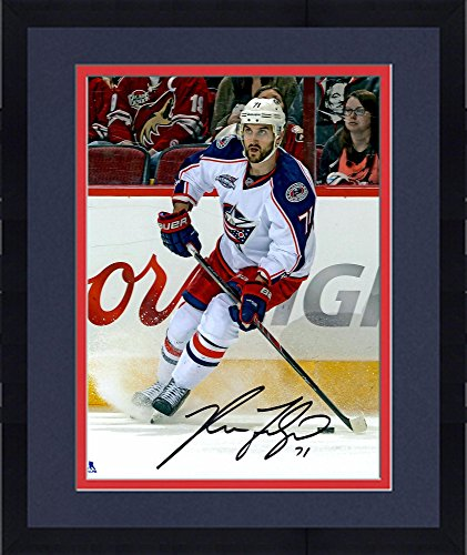 Framed Nick Foligno Columbus Blue Jackets Autographed White Jersey Stopping 8