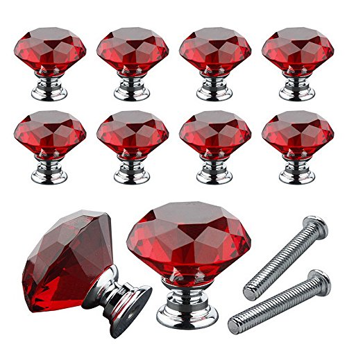 Souarts 10pcs Glass Knob Drawer Door Rhinestone Handle Pull Dia 30mm for Wardrobes Cabinets Cupboards Furniture