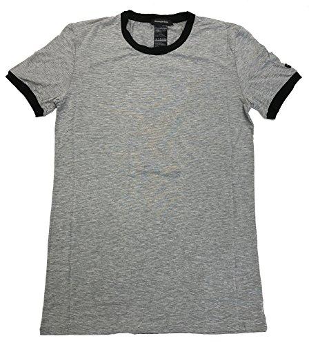 Ermenegildo Zegna Stretch Crew Neck T-Shirt (Small, Grey Melange/Black - For Men Zegna