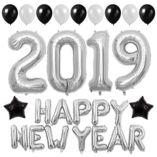 New Year Party Decor 40inch Silver 2019 Balloons 16inch Happy New Year Banner 12inch Latex Balloons for New Year Eve Party Supplies (Silver) -