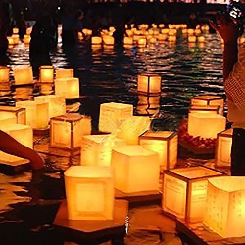 Aketek 20 Pack Square Chinese Lanterns Wishing, Praying, Floating, River Paper Candle (Floating Paper Lanterns)