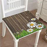 Mikihome Classic Decorative Chair pad Seat Antique Old Planks American Style Western Rustic Wooden and White Daisies, Grass Cushion with Memory Filling 26''x26''x2pcs