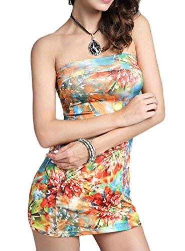 Matita Senza D'arancia Elegante Spalline Sexy Stampa Womens Abiti Cromoncent Corti Magro nFpUIw5Rq5