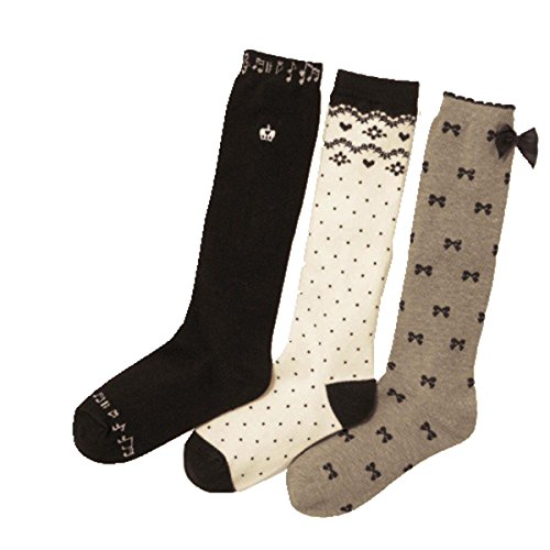 Price comparison product image Girls Knee High Socks White Notes Comfort Cotton Stockings Socks 3 Pair Pack