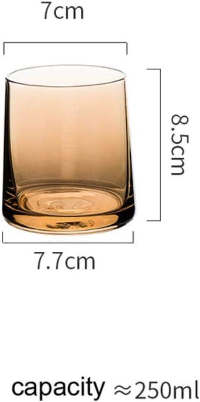 NLT - Vasos de chupito de cristal de whisky, transparente para el hogar, sin tallo, copa de vino, cerveza lulu limón, color ámbar