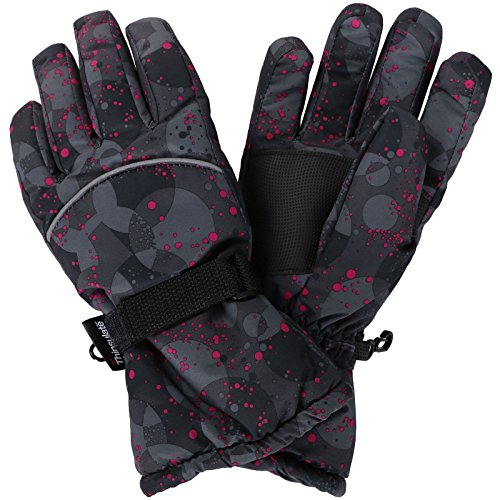Livingston Women Thinsulate Lining Waterproof Winter Sports Ski Gloves, Black, M