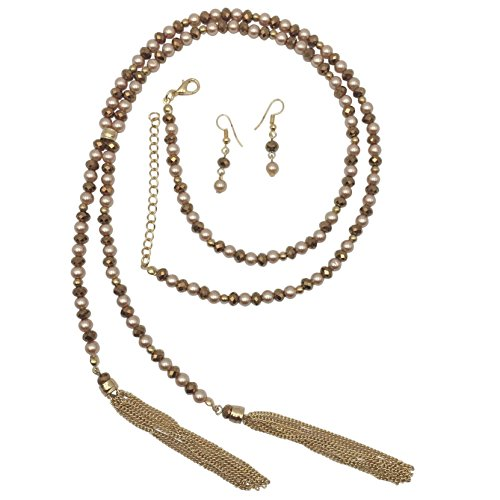 Gypsy Jewels Long Beaded Lariat with Tassel Necklace & Earring Set - Assorted Colors (Brown Tones Imitation Pearl)