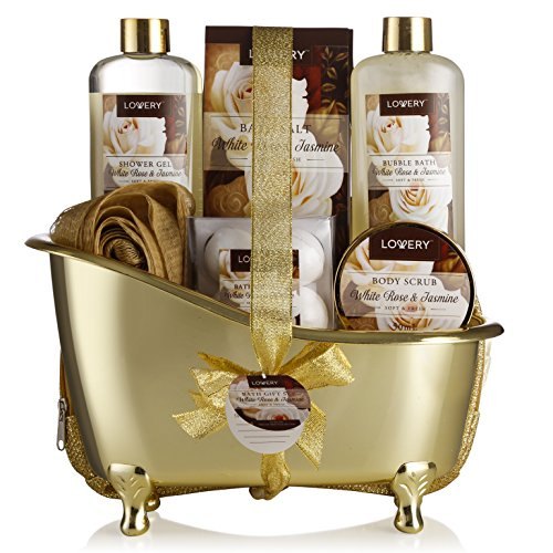 Home-Spa-Gift-Basket-Luxurious-11-Piece-Bath-Body-Set-For-MenWomen-White-Rose-Jasmine-Scent-Contains-Shower-Gel-Bubble-Bath-Body-Scrub-Bath-Salt-4-Bath-Bombs-Pouf-Cosmetic-Bag-Gold-Tub