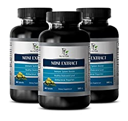 Immune Defense - Noni Extract 500 Mg - Morinda Leaf Powder - 3 Bottles 180 Capsules
