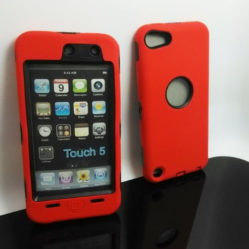 Deluxe Hybrid Rubber Silicone Cover Case For iPod Touch 5 5th 5G,Hard Soft High Impact Hybrid Armor Case Combo for Apple iPod Touch 5 5th Generation, Hybrid 3 PIECE ZEBRA HARD PROTECT CASE COVER SKIN FOR IPOD TOUCH 5 Generation (Red+Black) (Pandamimi Ipod Cases 4 For)