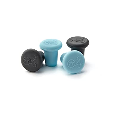 Outset 76442 Silicone Wine Bottle Stopper, Set of 4, Black and Blue