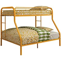 Furniture of America Non-Recycled Metal Bunk Bed, Twin Over Full, Orange