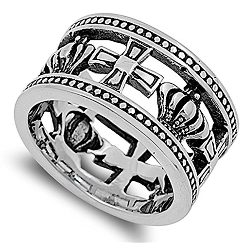 Wide Cutout Cross Crown Fashion Ring New 316L Stainless Steel Band Size - Ring Out Crown Cut