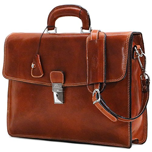 Floto Full Grain Leather Milano Briefcase Attache Laptop Case in Olive Brown