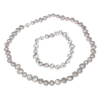 Treasurebay Elegant Multi-coloured Irregular Freshwater Pearl Necklace and Bracelet Jewellery Set s14G6A