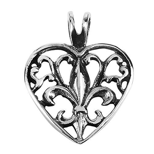 Elegant and Alluring Fleur-de-Lis in Heart .925 Sterling Silver Pendant