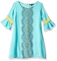Big Printed Mini Flounce Crochet Sleeve Dress