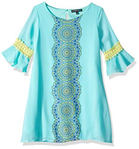 My Michelle Girls' Big Printed Shift Dress with Mini Flounce Crochet Sleeve, Mint -