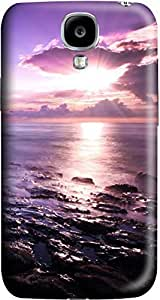 Purple Seascape Fashion Designed Pattern Protevtive 3D Hard Back For Case Samsung Galaxy S5 Cover