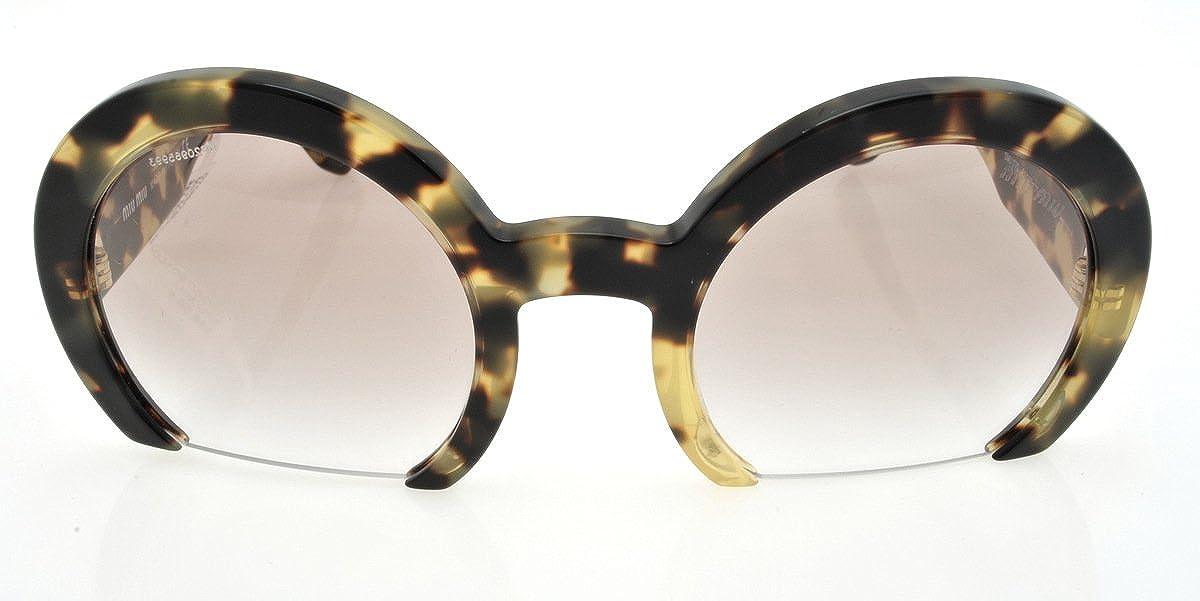 4dd701800008 Amazon.com  Miu Miu MU 07QS 7S01L0 Light Havana Round Fashion Sunglasses   Shoes