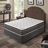 Spinal Sleep Mattress,Pillow Top ,Pocketed Coil, Orthopedic Full Size Mattress, White & Grey