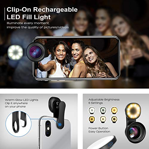 Cell Phone Camera Lens Kit – VIEWOW 4K HD 7 Optical Glasses 15X Macro 0.45X Wide Angle Phone Lens Kit with LED Light and Travel Case, Compatible with iPhone X/XS/8/7 Plus Samsung Pixel by VIEWOW (Image #2)