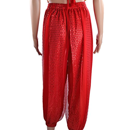 Banadge SymbolLife Monnaies indienne Haut Belly des courts Chest Hanging danse Pad Lady Rouge pantalons mousseline Femmes et Bells de Avec xxrX08