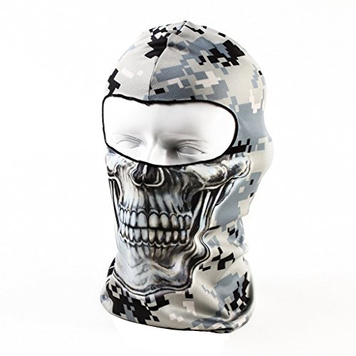 Your Choice Motorcycle Face Mask Helmet Cover Winter Cycling Balaclava Bike Ear Warmers Breathable, Camo Skull