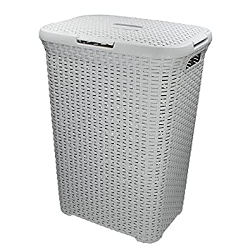 CURVER Caja 60L 45 x 34 x 62 cm Cesto para Ropa Sucia (Cesta ratán Estilo Rectangular Gris Claro: Amazon.es: Hogar