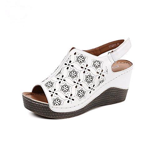 - Summer Wedge Heels Women Sandals Open Toe Fish Head Platform Shoes High Heels Slingbacks Women Shoes,8.5