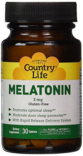 3 Mg 30 Tabs (Country Life Melatonin 3 Mg, 30 Tablets)