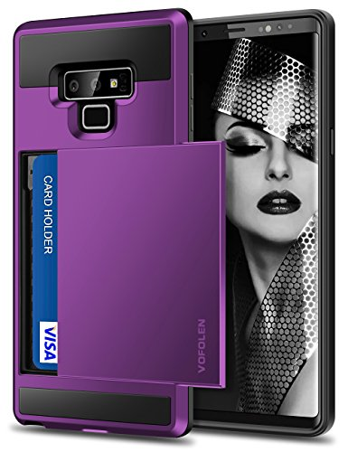 Vofolen Galaxy Note 9 Case Sliding Cover Note 9 Wallet Case Credit Card Holder ID Slot Heavy Duty Protection Dual Layer Protective Hard Shell Hybrid Bumper Armor for Samsung Galaxy Note 9 (Purple)