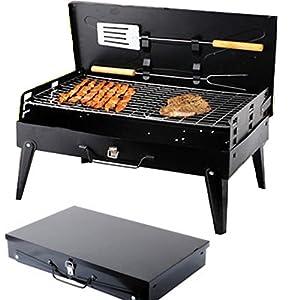 SunJas Griglia Pratica Portatile e Pieghevole Campeggio Mini Fornello Barbecue 18 spesavip
