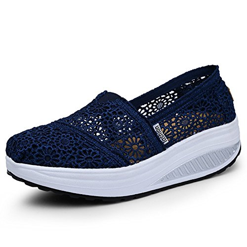 Platform Work Shoes Womens Crochet Dark On Sneaker Out Toning Slip Blue Fitness Walking Mesh zq1wat