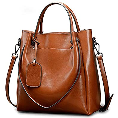 7e5e82129ab5 Amazon.com  Genuine Cow Leather Women Handbag Vintage Fashion Female Brand  Designer Shoulder Crossbody Bag Casual Large Tote Bag for Ladies Color  Brown  ...