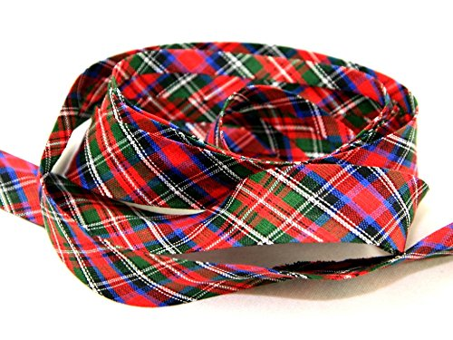25mm wide Cotton Patterned Bias Binding Multi Tartan Kilt - per metre JTL