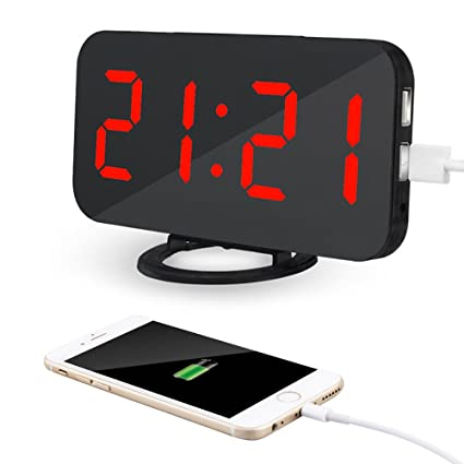 Kidsidol 2 en 1 Despertadore Electrónico creativo reloj de alarma digital LED dimmer diseño Smart Power Bank Brillo ajustable para Home Office ...