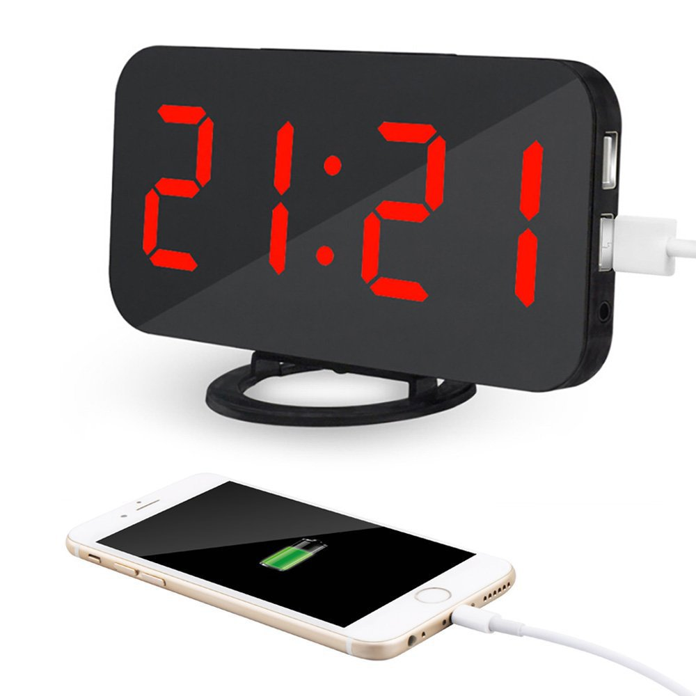 Kidshome 2 In 1 Creative LED Digital Alarm Clock with USB Ports Mirror Surface Brightness Adjustable Table Clock Suitable for Home Office Hotel Room Decorate (Black) (Red Dispaly)