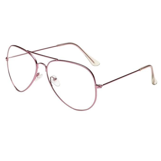 Happy-day Gafas Fiesta, Gafas Aviador Mujer, Hombres Mujeres Gafas de Lentes Transparentes Gafas de Montura Metálica, Gafas de Sol Hombre polarizadas: ...