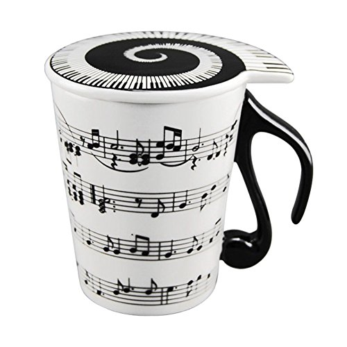 (HLJgift Creative Ceramic Musician Coffee Mug Tea Cup with Lid Staves Music Notes as Valentine's Day Gift Teacher)