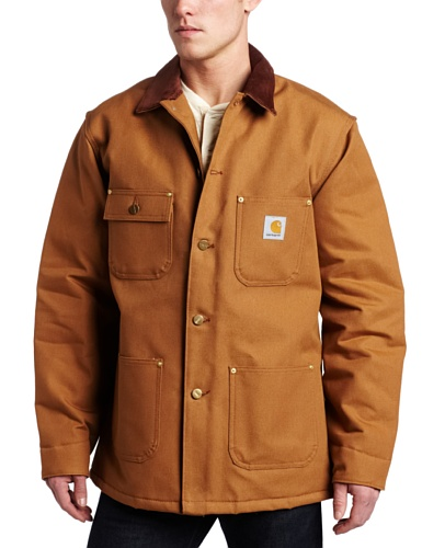 (Carhartt Men's Duck Chore Coat Blanket Lined C001,Brown,Large)
