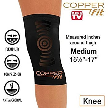 02d19afc44 Copper Fit Copper Infused Knee Compression Sleeve As Seen on TV Brace Joint  Pain (Medium 15.5