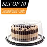 "Plastic Cake Container & Board Set By Chefible: Extra-Strong Transparent Round 10"" Bakery Display/Storage Boxes With Base, Tall Dome Lid & Honeycomb Design + Sturdy 10"" Corrugated White Circles"