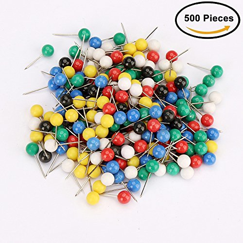 Tack Matte (iMagitek 500 Pieces Map Tacks Push Pins Plastic Head with Steel Point, Thumb Tack Message Board Painting Map Wall Diy Drawing Push Pins Office Accessories)