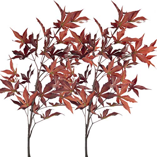 Rinlong 2pcs Artificial Maple Leaf Branches Flame Red 37