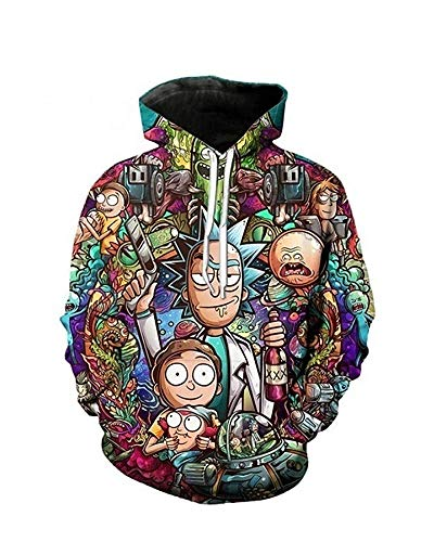 Remikstyt Mens Hoodies Plus Size Long Sleeve Cartoon Funny Graphic Printed Casual Pullovers Sweatshirts (XX-Large, Multicoloured)