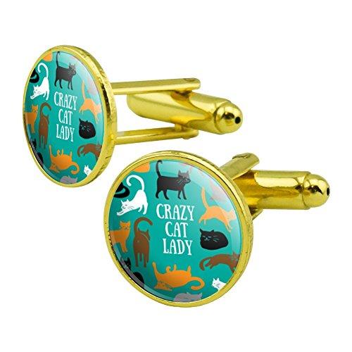 (Crazy Cat Lady Teal Orange Black Brown Round Cufflink Set Gold Color)