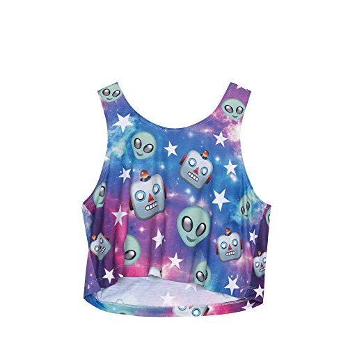Fringoo - Camiseta sin mangas - para mujer Galaxy Robot