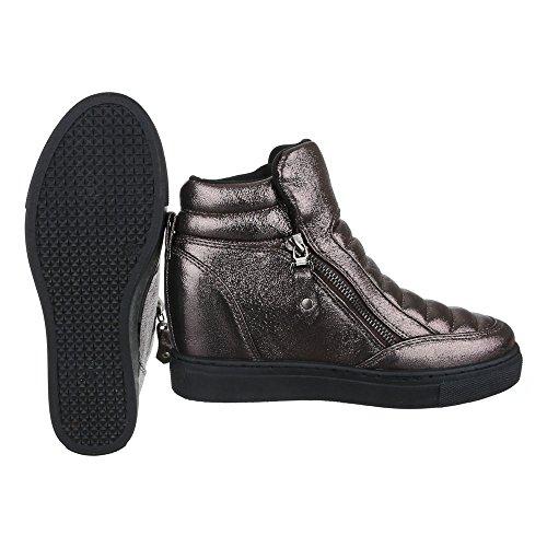 Ital-Design High-Top Sneaker Damenschuhe High-Top Keilabsatz/Wedge Wedges Reißverschluss Freizeitschuhe Bronze